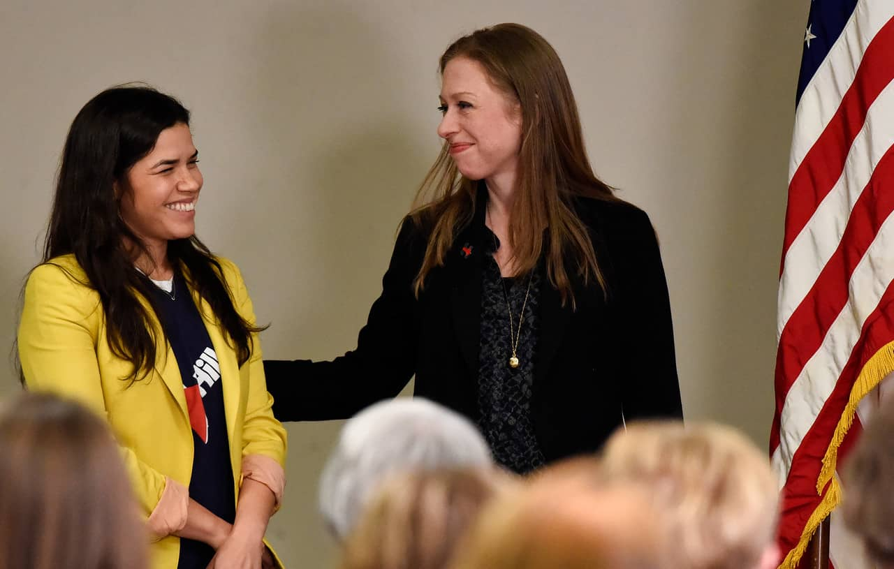 DENVER, CO - FEBRUARY 18: Chelsea Clinton smiles as actress America Ferrera is introduced to supporters. Chelsea and America are campaigning for Hillary Clinton in Denver February 18, 2016 at the Anderson Academic Commons. Chelsea and America spoke to about 100 supporters.  (Photo By John Leyba/The Denver Post)