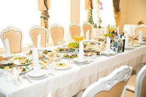 Long Table with food and drink